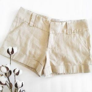 Alice & Olivia Gold Linen Tan Cuffed Shorts 4